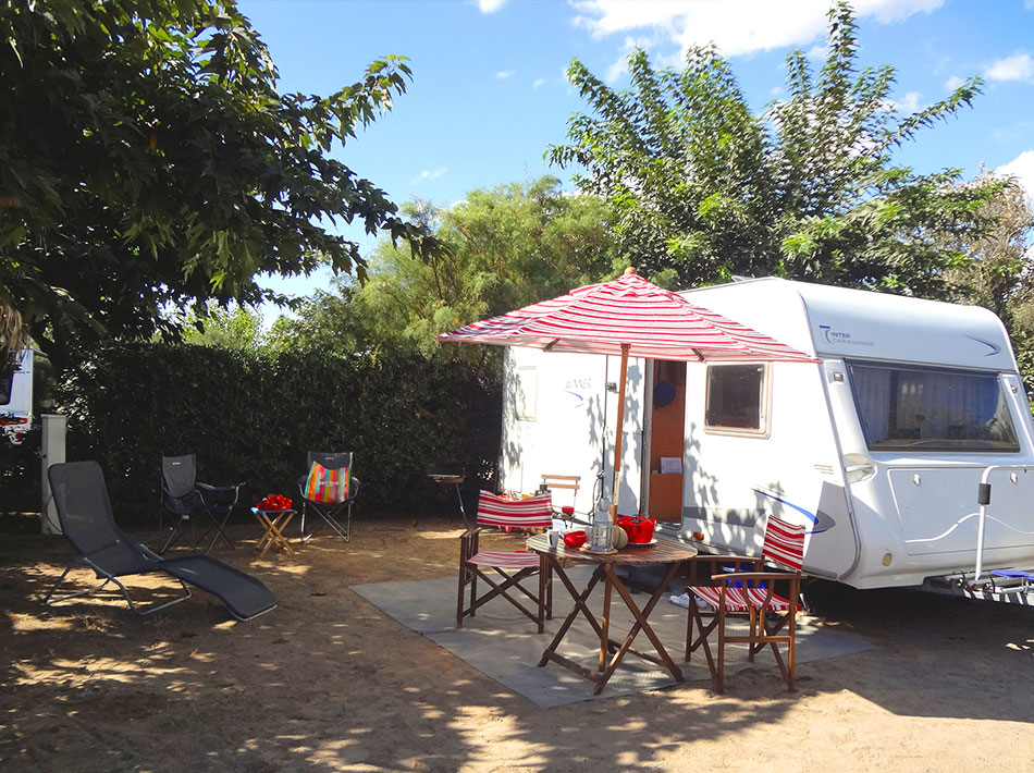 nice shaded camping pitch at the Farret club at vias plage for caravan, motorhome and canvas tent