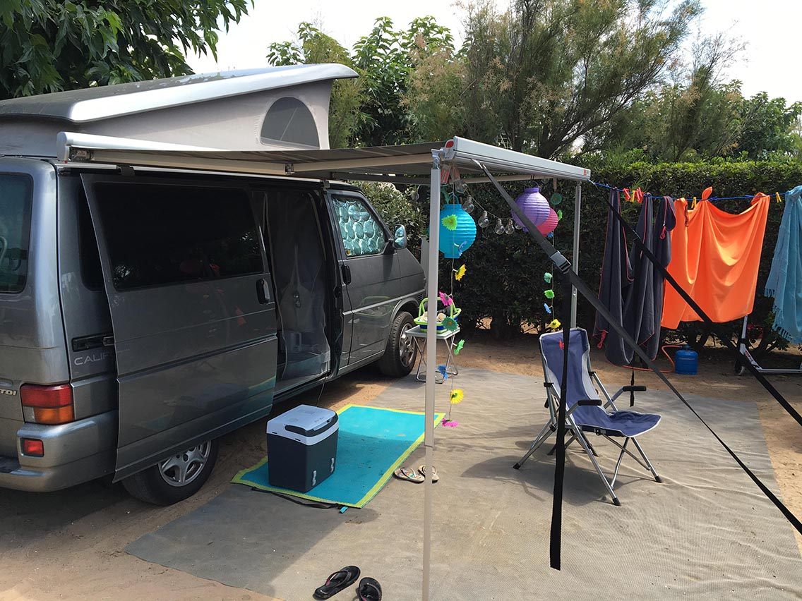 Van on camping pitch
