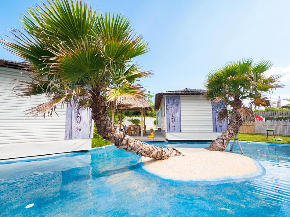 location mobil home avec vue sur île palmier et lagon