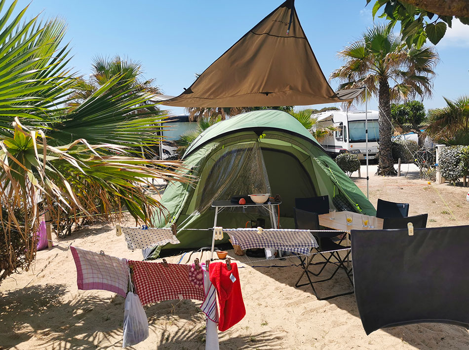 large camping pitch for tents by the sea at vias beach