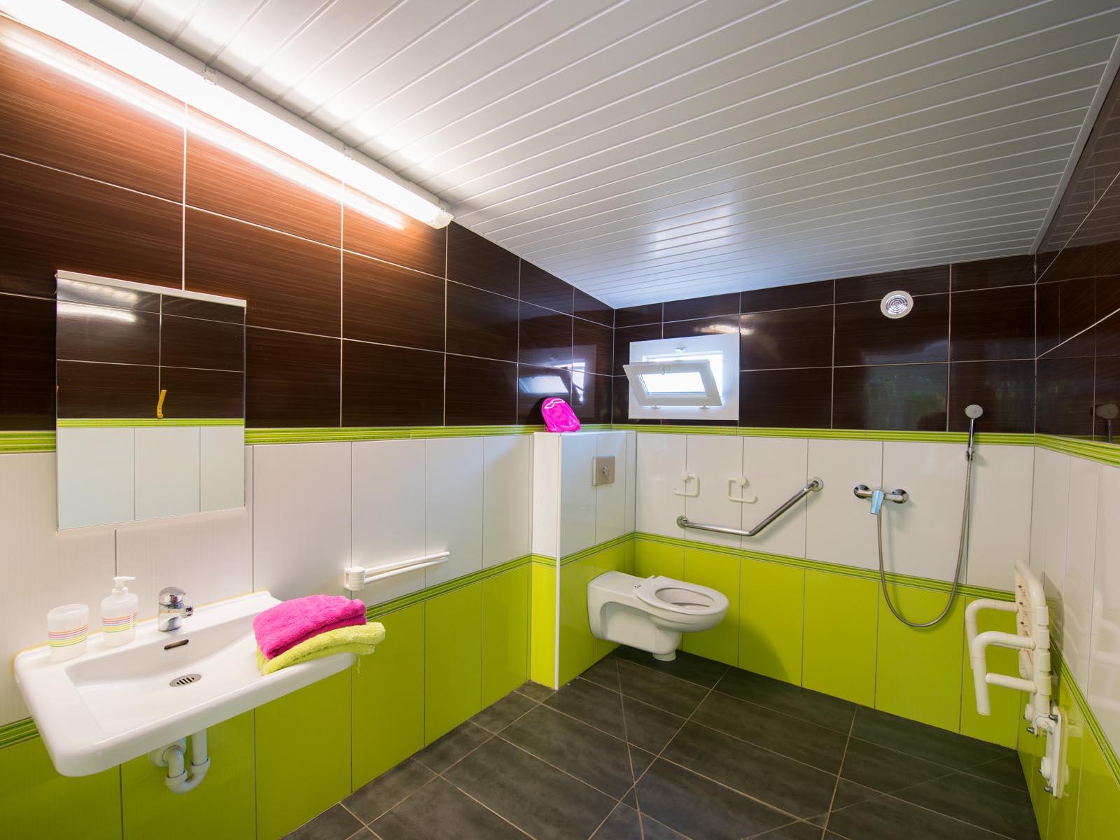 Salle de bain aménagée pour personnes à mobilité réduite
