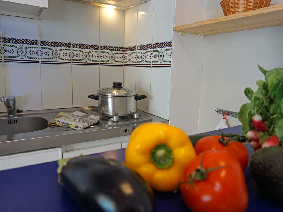 equipped kitchen in apartment camping farret in vias plage occitanie