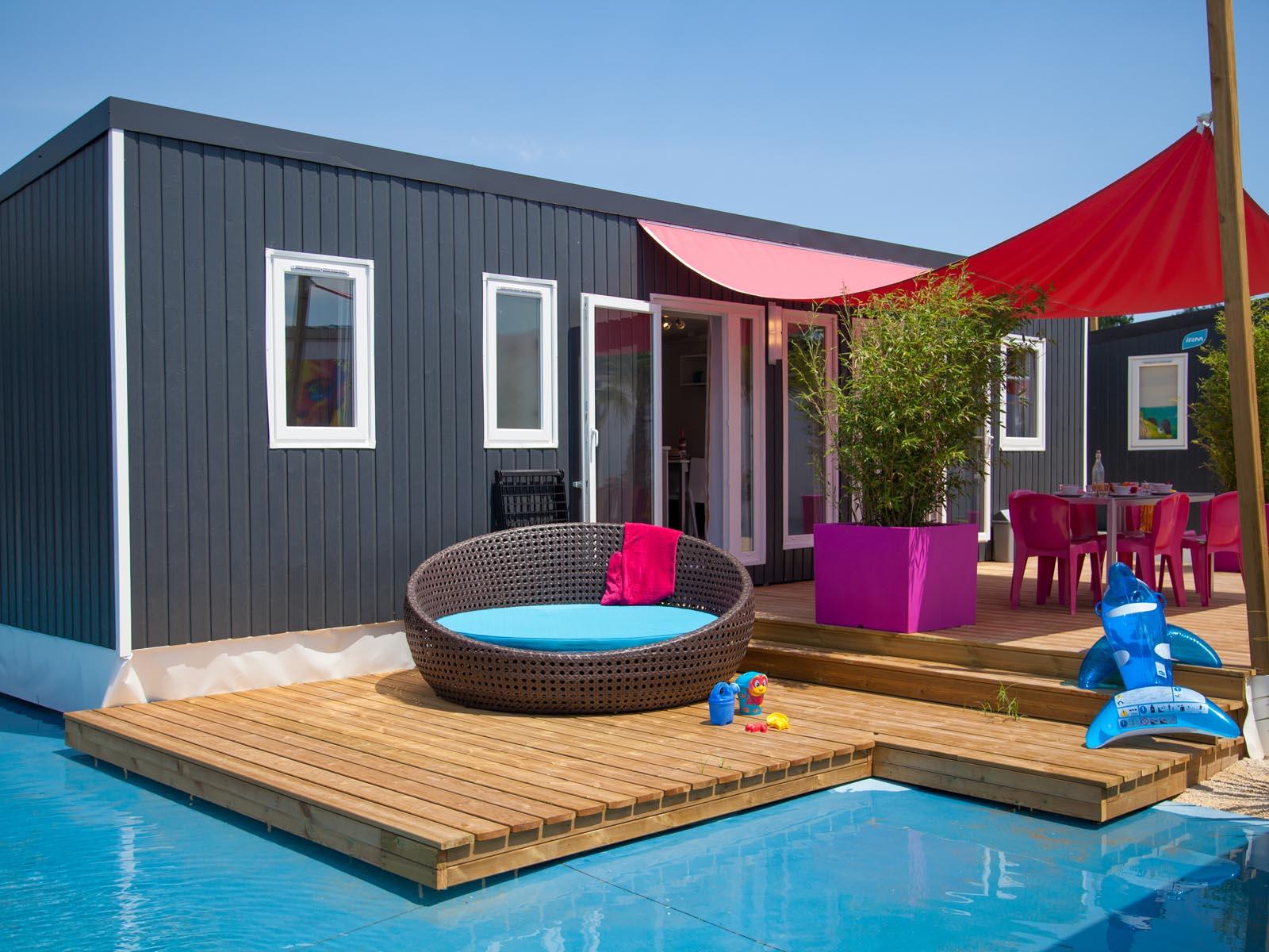 Mobilhome haut de gamme et piscine