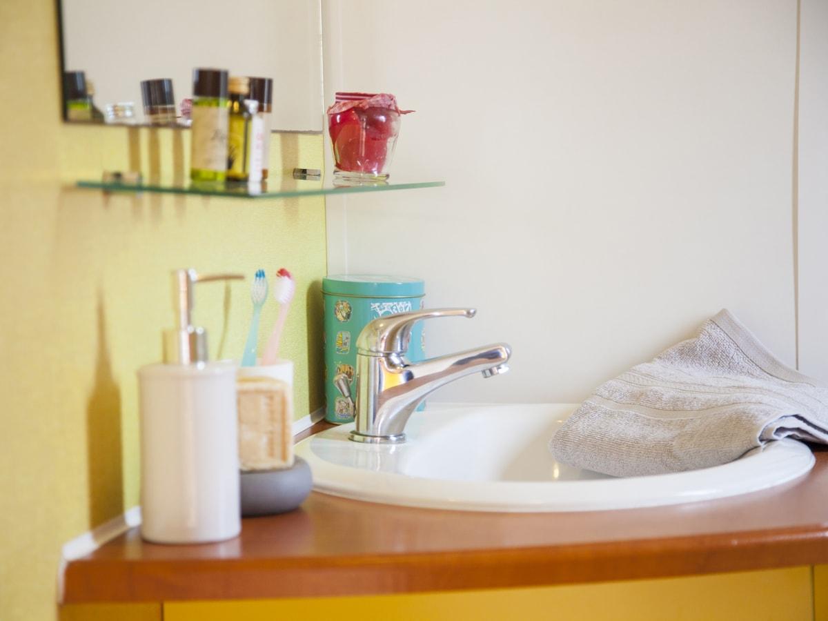 salle de bain avec douche et rangements dans mobil-home vias plage