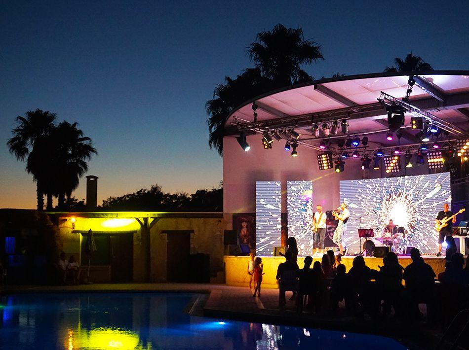 concert, scène, vue piscine, musique