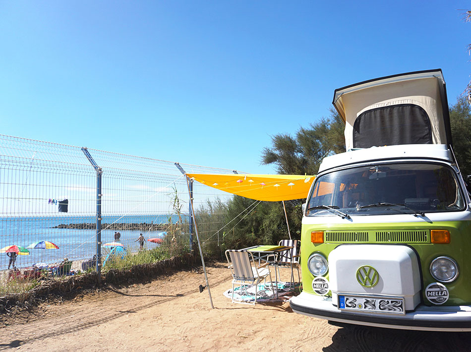 Vintage volkswagen camping facility with magnificent views of the Mediterranean Sea at Vias Plage