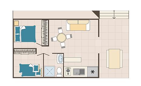 plan appartement 4/6 personnes 2 chambres